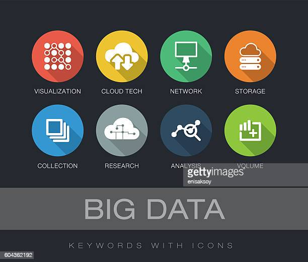 illustrations, cliparts, dessins animés et icônes de big data keywords with icons - ordre