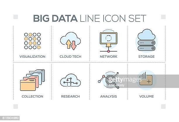 big data keywords with line icons - big data storage stock illustrations