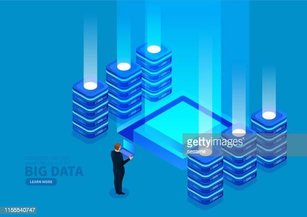 ビッグデータの監視と管理 - バックアップ点のイラスト素材/クリップアート素材/マンガ素材/アイコン素材
