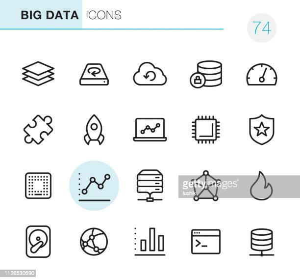 big-data - pixel perfect icons - gestapelt stock-grafiken, -clipart, -cartoons und -symbole