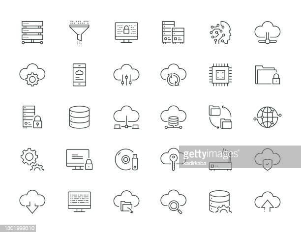 illustrazioni stock, clip art, cartoni animati e icone di tendenza di serie big data thin line - centro elaborazione dati