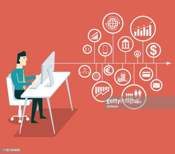 big data - scrutiny stock illustrations
