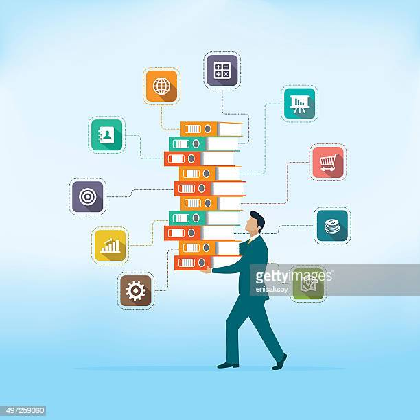 big data - filing documents stock illustrations, clip art, cartoons, & icons