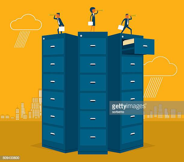 big data - filing cabinet stock illustrations, clip art, cartoons, & icons