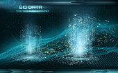 Big data visualization. Cyberspace landscape. Data flow