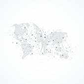 Big data visualization with a world globe. Abstract vector background with dynamic waves. Global network connection. Technological sense abstract illustration