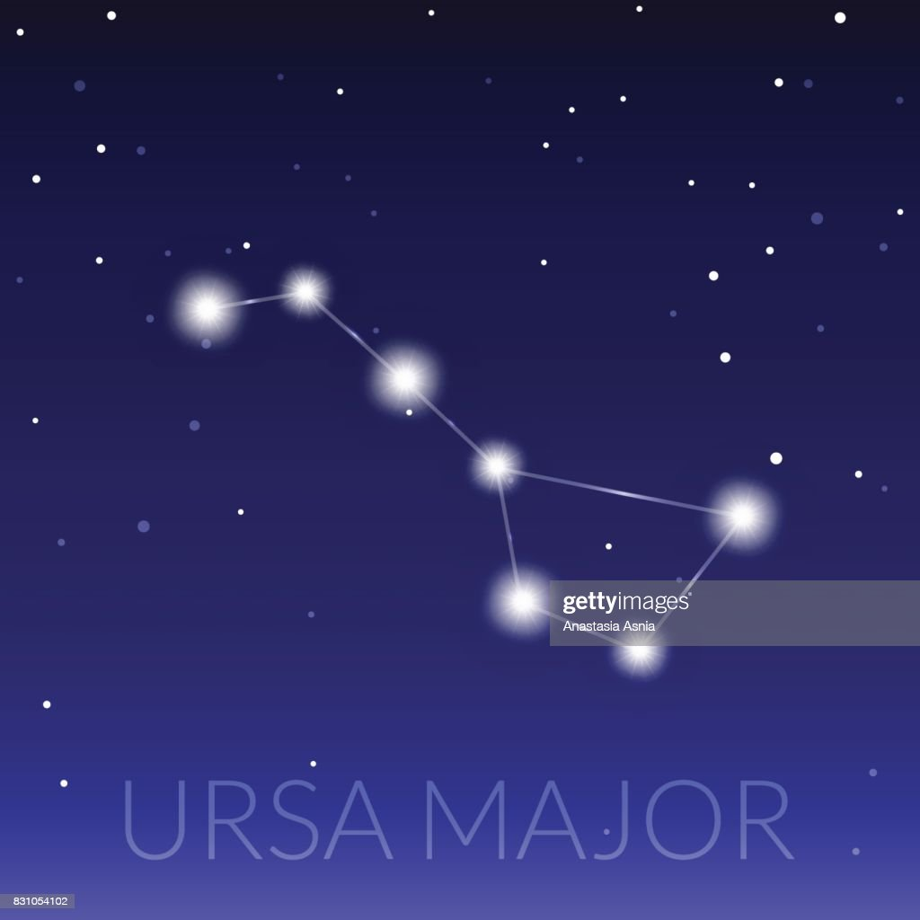 Big dipper or ursa major great bear constellation. Starry sky with constellation