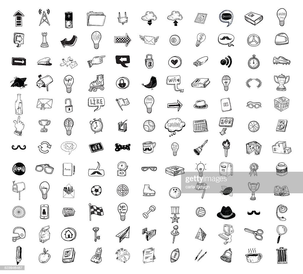 Big doodle set, collection icon, vector.
