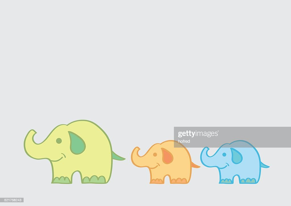 Big Elephant Leading Small Elephants Cartoon