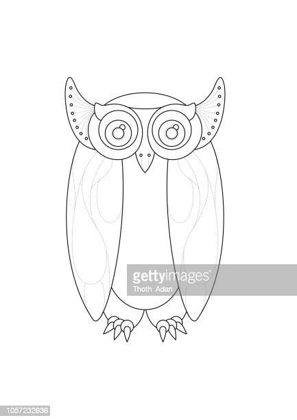 Big Eyed Owl (Line Art Doodle Drawing)
