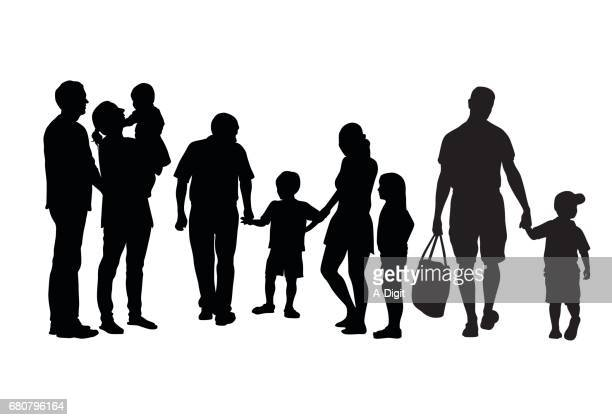 big families - parent stock illustrations