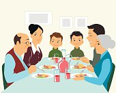 Big family eating
