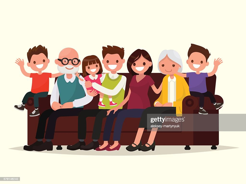 Big family sitting on the sofa. Grandfather, grandmother, father