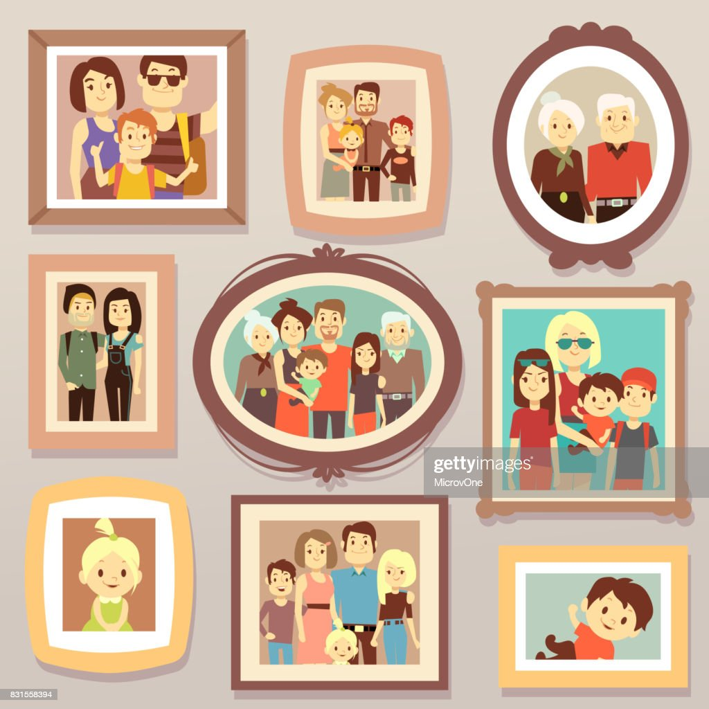 Big family smiling photo portraits in frames on wall vector illustration