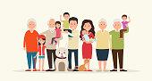 Big family together. Parents and children, grandparent along wit