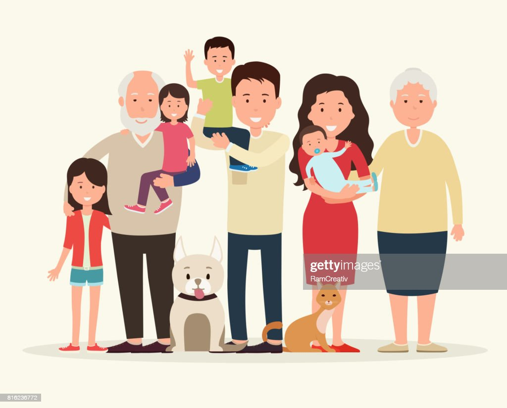 Big family together. Parents and children, grandparent along with the animals.