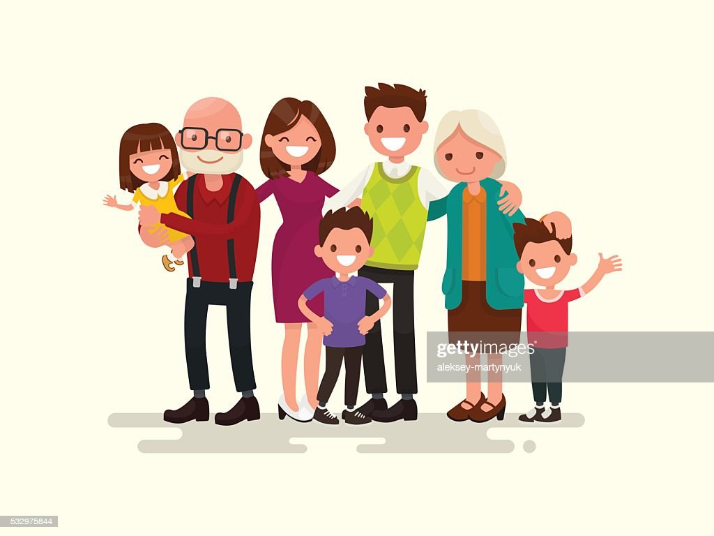 Big family together. Vector illustration