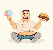 Big fat happy smiling man character mascot eating hamburger and ice cream fast food