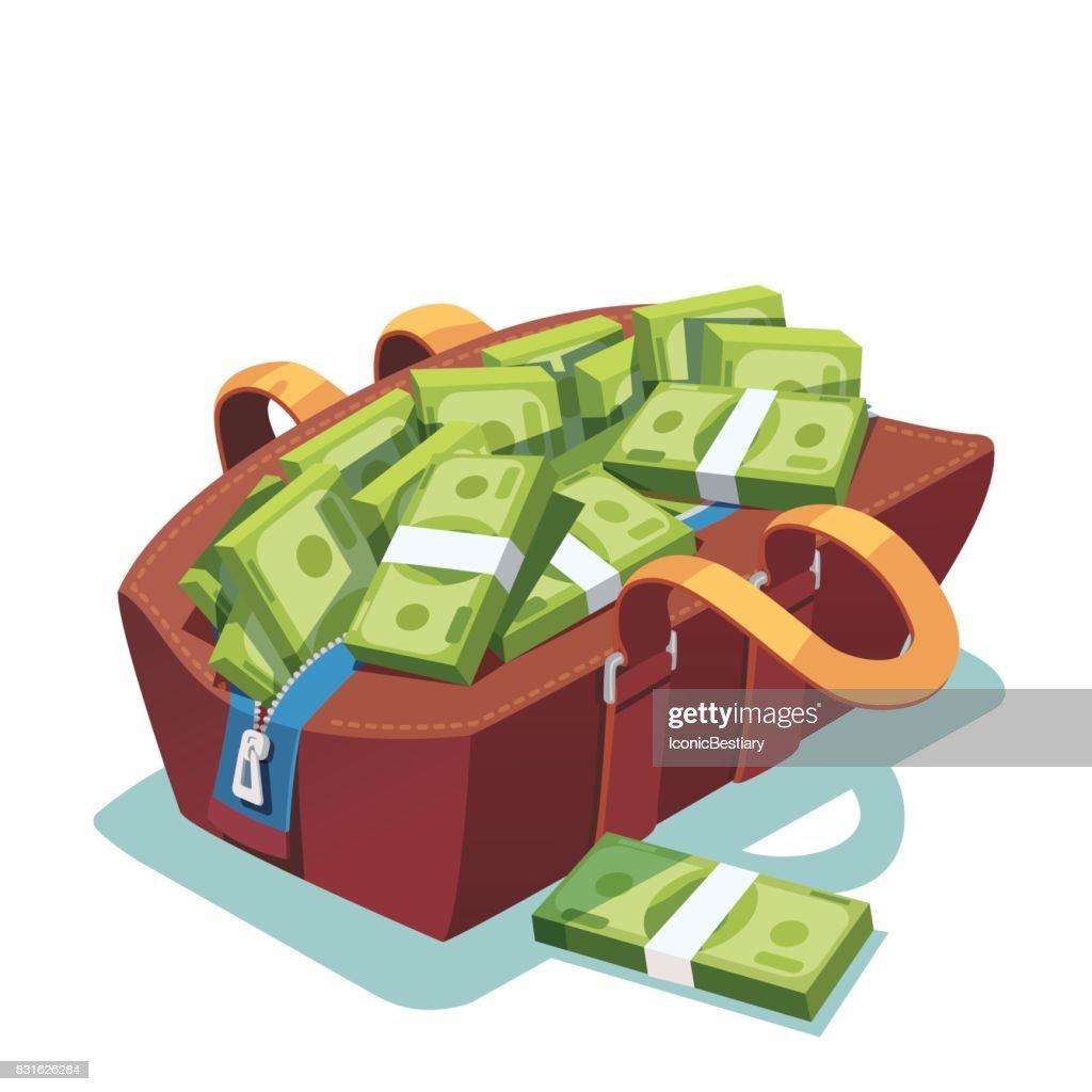 Big fat opened leather bag full of cash money