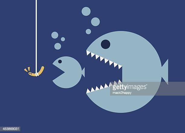 big fish eat little fishes, hookworm bait. business concept - large stock illustrations