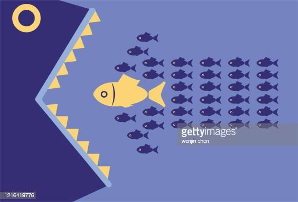 big fish eats school of fish making up arrow shape - cartoon characters with big teeth stock illustrations