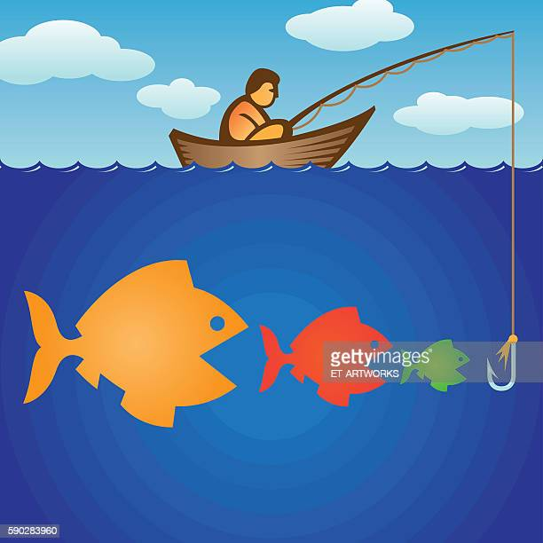 big fish eats small fishes - illustration technique stock illustrations