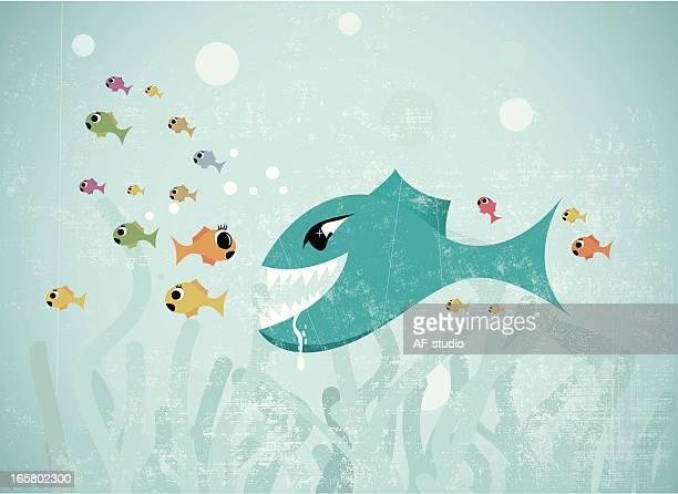 big fish eats small - cartoon characters with big teeth stock illustrations