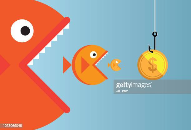 big fish - head above water stock illustrations