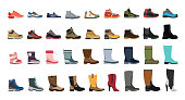Big flat icon collection of men's, women's and children's footwear.