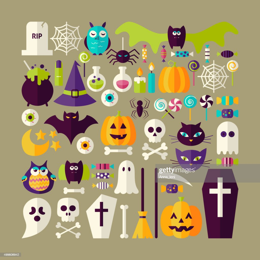 Big Flat Style Vector Collection of Halloween Holiday Objects