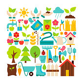 Big Flat Vector Collection of Spring Garden Objects