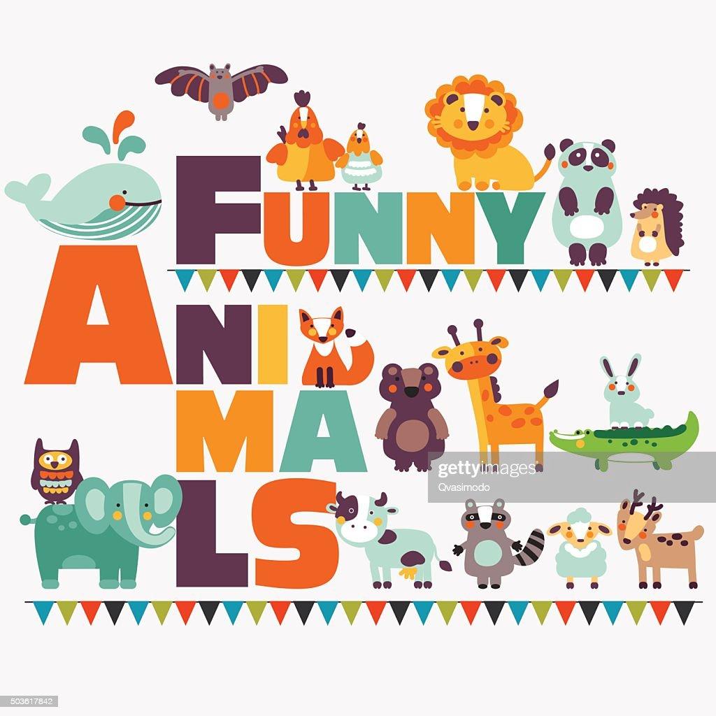 Big funny animal set made of wild and domestic animals