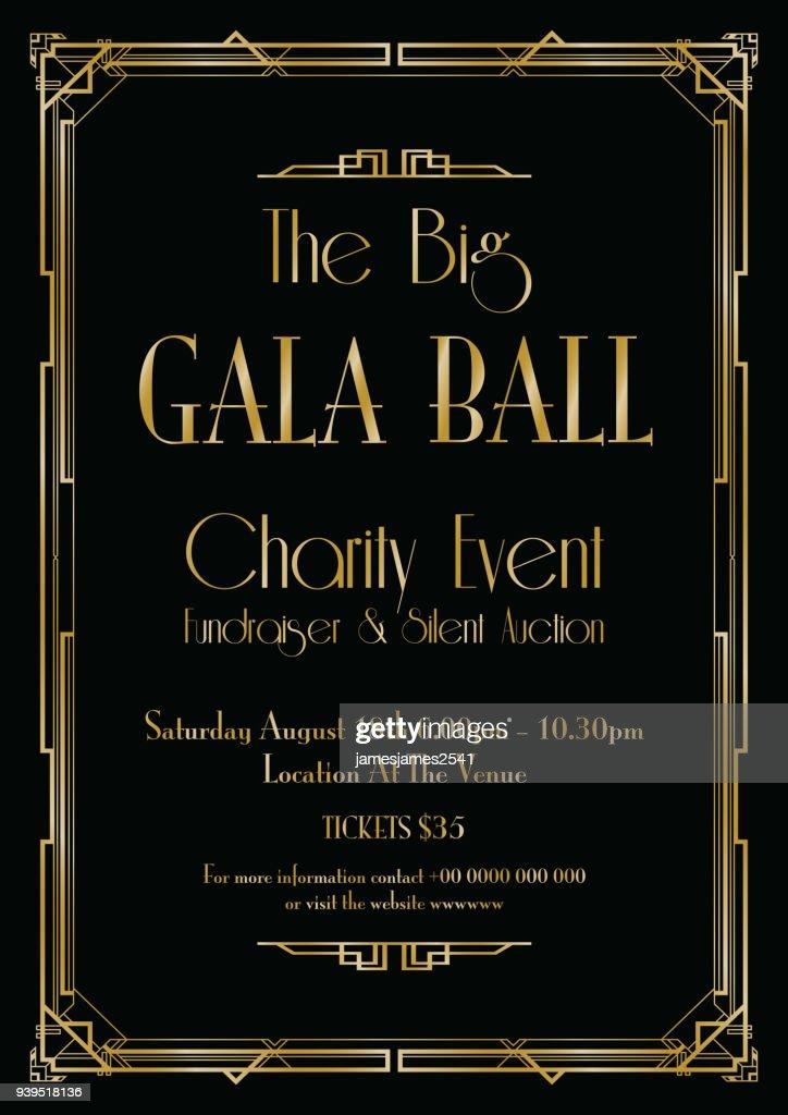 big gala ball art deco background