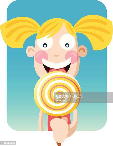 big girl lollipop - licking stock illustrations, clip art, cartoons, & icons
