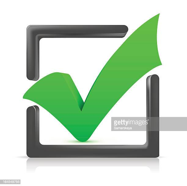 Big green checkmark in a 3D gray box outline