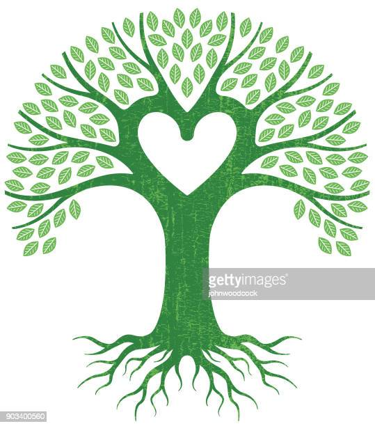 big green heart tree vector - family tree stock illustrations, clip art, cartoons, & icons