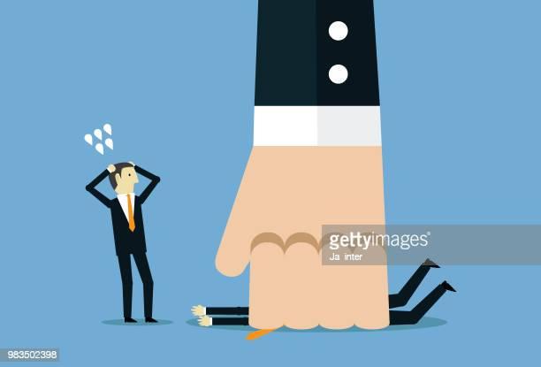 ilustraciones, imágenes clip art, dibujos animados e iconos de stock de hombre de negocios y de la mano grande - apuntar