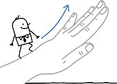 Big hand and cartoon businessman - going up