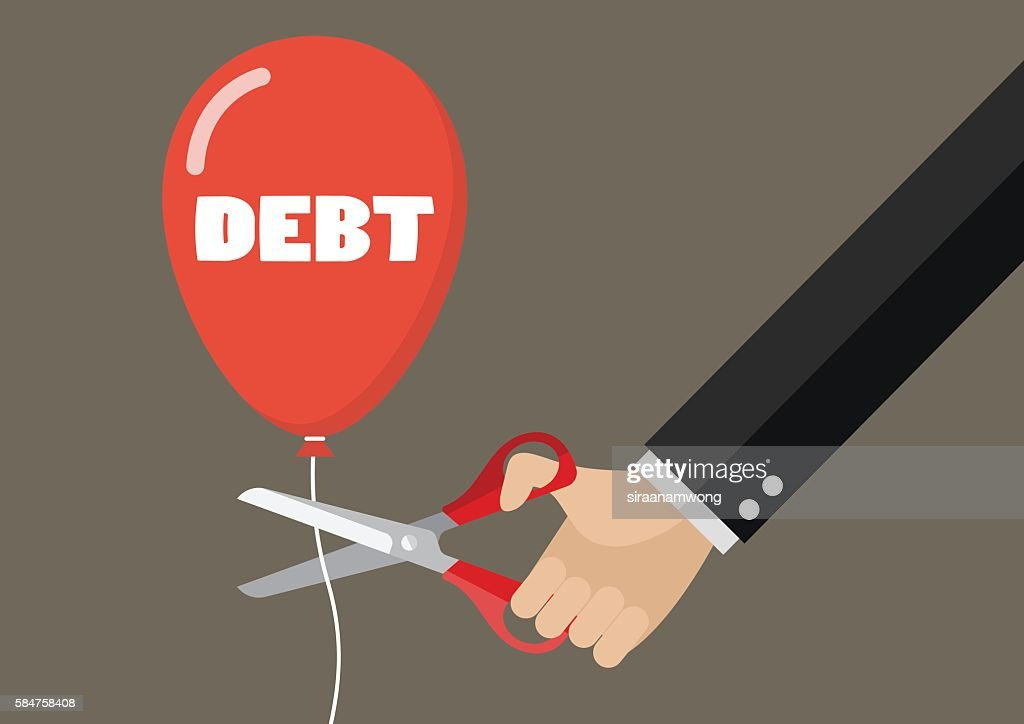 Big hand cutting debt balloon string with scissors