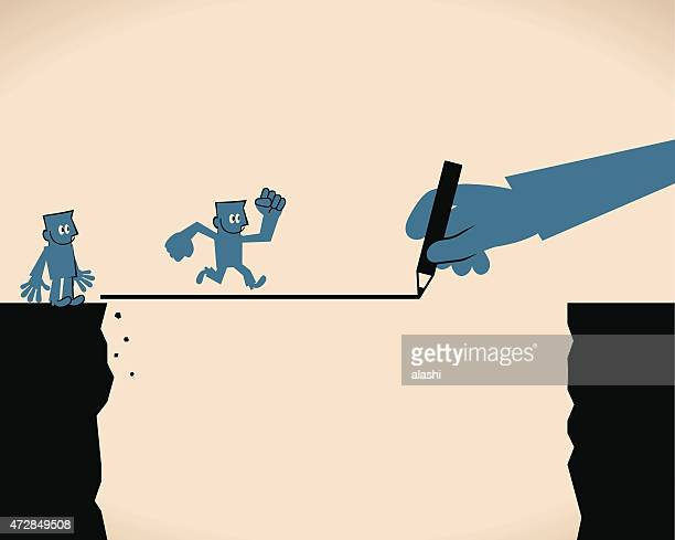 Big hand drawing line with pencil, Businessman cross the cliff