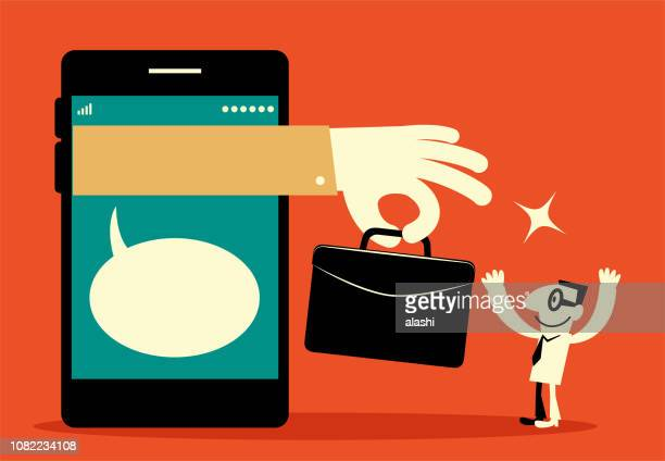 big hand from smart phone giving briefcase (job, outsourcing) to businessman - job fair stock illustrations