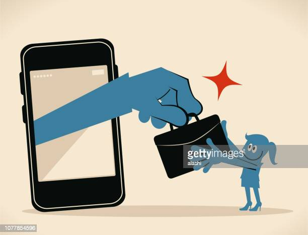 big hand from smart phone giving briefcase (job, outsourcing) to businesswoman, digital nomad, get case - job fair stock illustrations