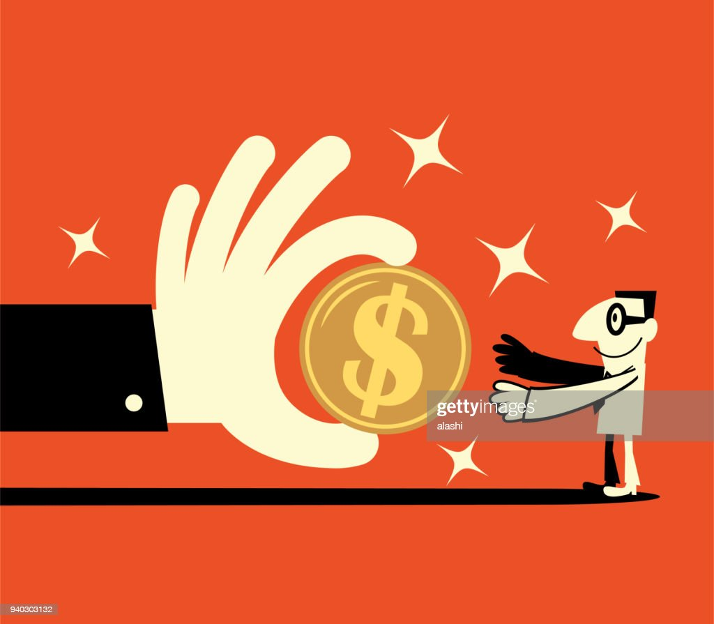 Big hand giving a big dollar sign currency money to a smiling businessman (banking payment, lottery, perks, wages)