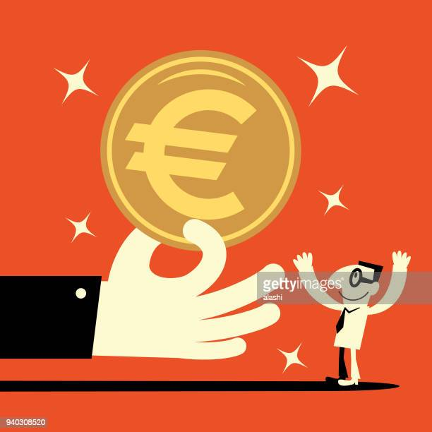 Big hand giving a big euro symbol currency money (european union coin) to a smiling businessman (banking payment, lottery, perks, wages)