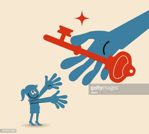 big hand giving a big key (solution) to a smiling business woman - women's issues stock illustrations, clip art, cartoons, & icons