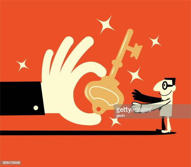 big hand giving a big key to a smiling businessman (solution) - key stock illustrations, clip art, cartoons, & icons
