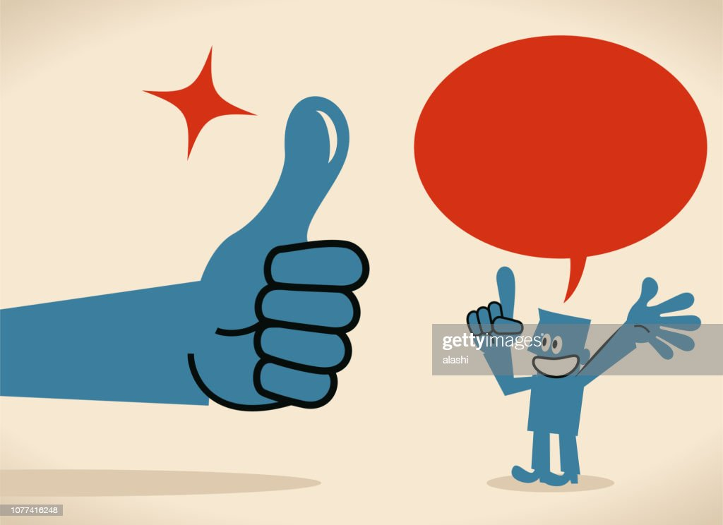 Big hand giving a thumbs up gesture to a businessman talking with speech bubble : Stock Illustration