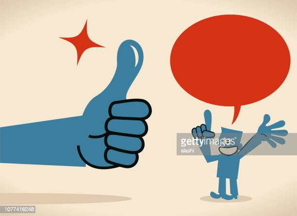 big hand giving a thumbs up gesture to a businessman talking with speech bubble - applauding stock illustrations, clip art, cartoons, & icons