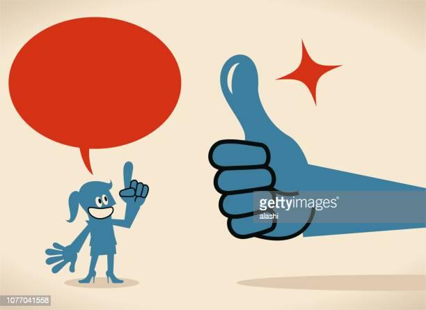 ilustraciones, imágenes clip art, dibujos animados e iconos de stock de mano grande dando un pulgar arriba gesto a una mujer de negocios hablando con burbujas de discurso - madre trabajadora
