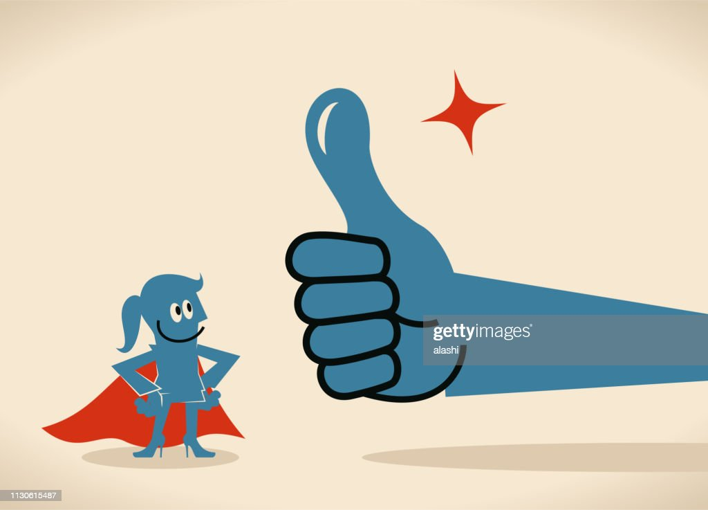 Big hand giving a thumbs up gesture to a super businesswoman with cape : Stock Illustration
